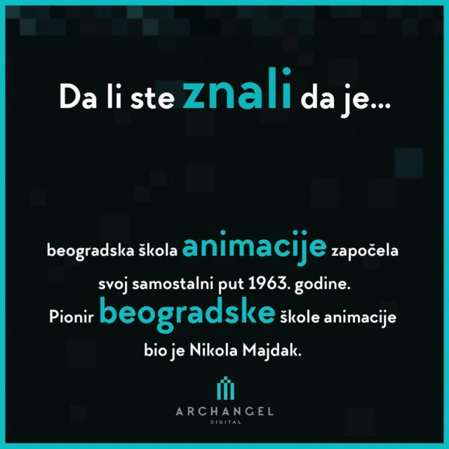 """Did you know that..  The Belgrade Animation School began its independent journey in 1963. The founder of the Belgrade Animation School was Nikola Majdak.  The first animated film of the local production are """"The Solist"""" and """"The Chalk Man"""" are work of Nikola Majdak.  #archangeldigital #ads #dalisteznali #historyofanimation #historyofanime #ilustration #storyboard #graphicdesign #animation #didyouknow #funfacts #facts #entertainment #filminserbia #kids #series #storytelling #storyteller #arts #balkanima"""